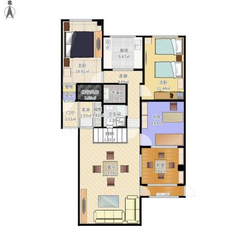阳光绿景3室1厅1卫1厨120.00㎡户型图