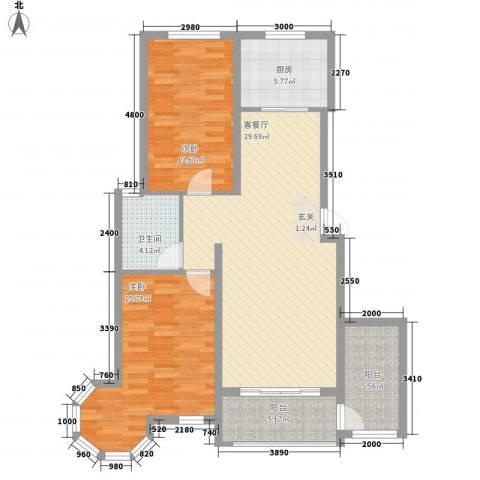 天地名都2室1厅1卫1厨78.77㎡户型图