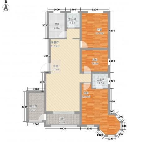 天地名都3室1厅2卫1厨124.00㎡户型图