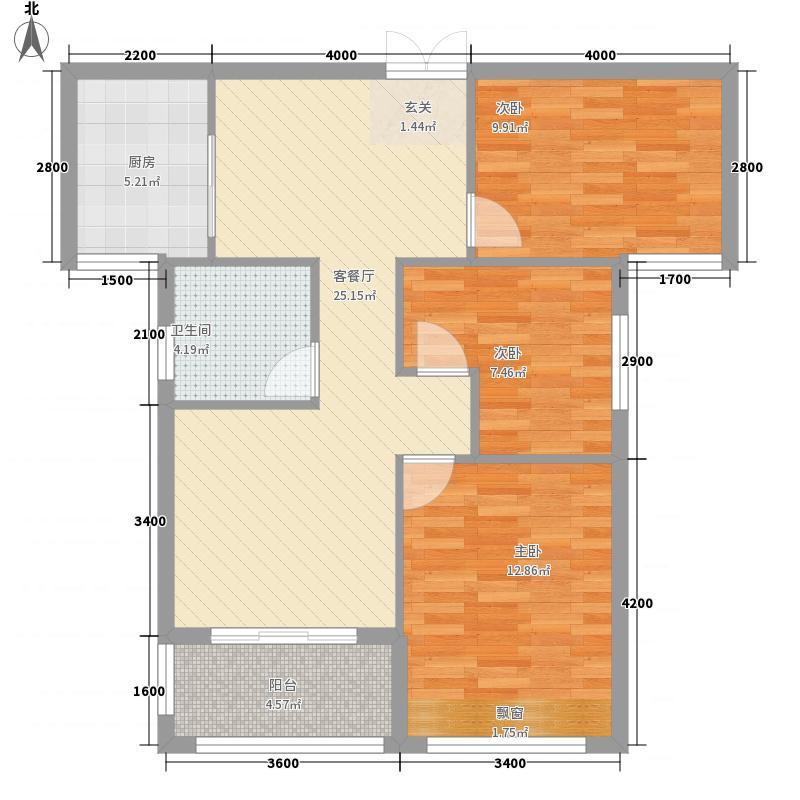 金地御景A2户型3室2厅1卫1厨