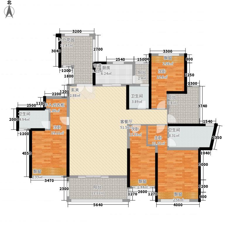 合富花园15.10㎡7#标准层B户平面图户型4室2厅3卫1厨