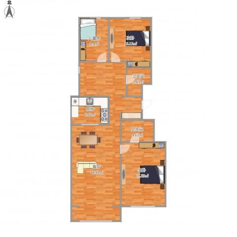 万科新里程3室1厅2卫1厨140.00㎡户型图