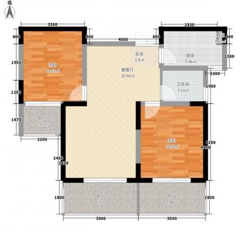 亿龙金河湾2室1厅1卫1厨106.00㎡户型图