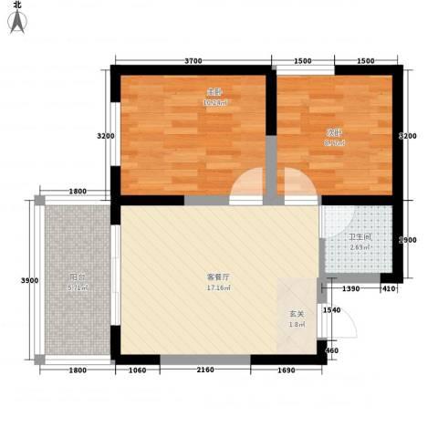 亿龙金河湾2室1厅1卫0厨62.00㎡户型图