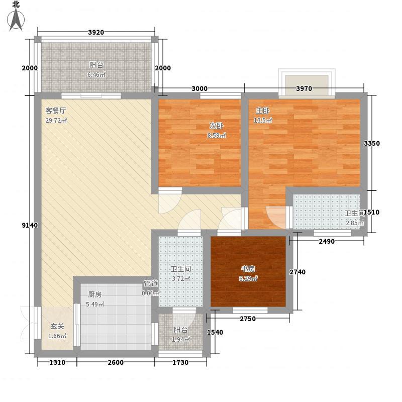 圣城华府15.60㎡户型3室2厅2卫1厨
