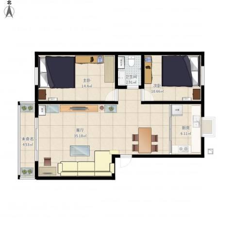 迎宾小区2室1厅1卫1厨102.00㎡户型图