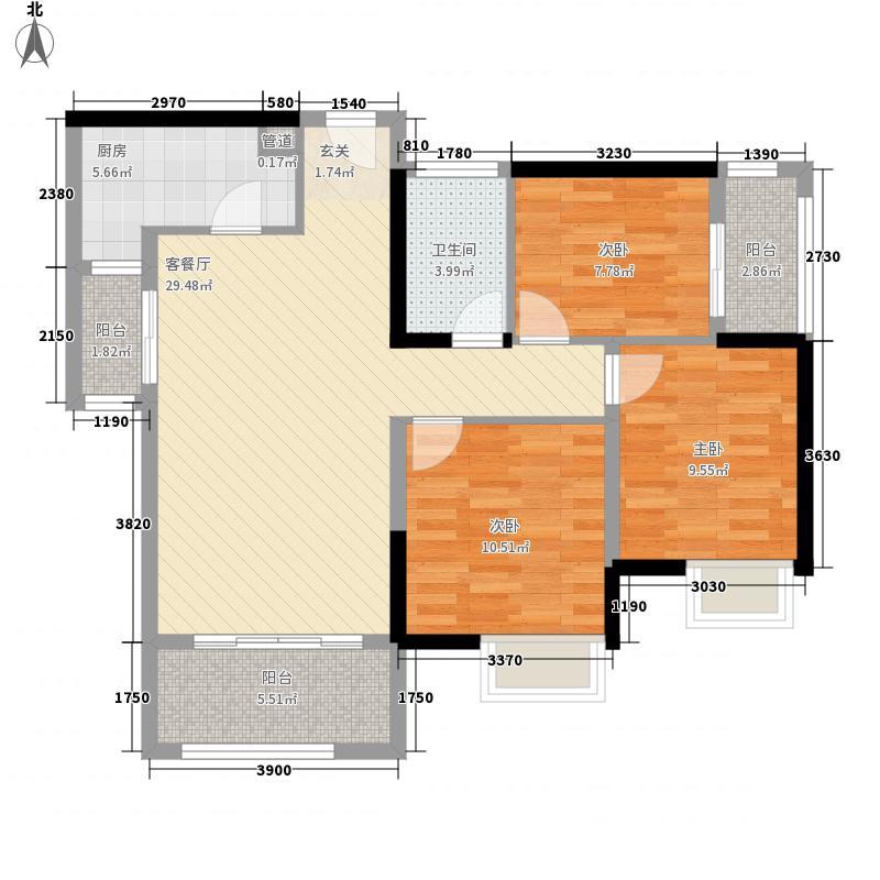 电建地产海赋长兴4.50㎡A3户型3室2厅1卫1厨
