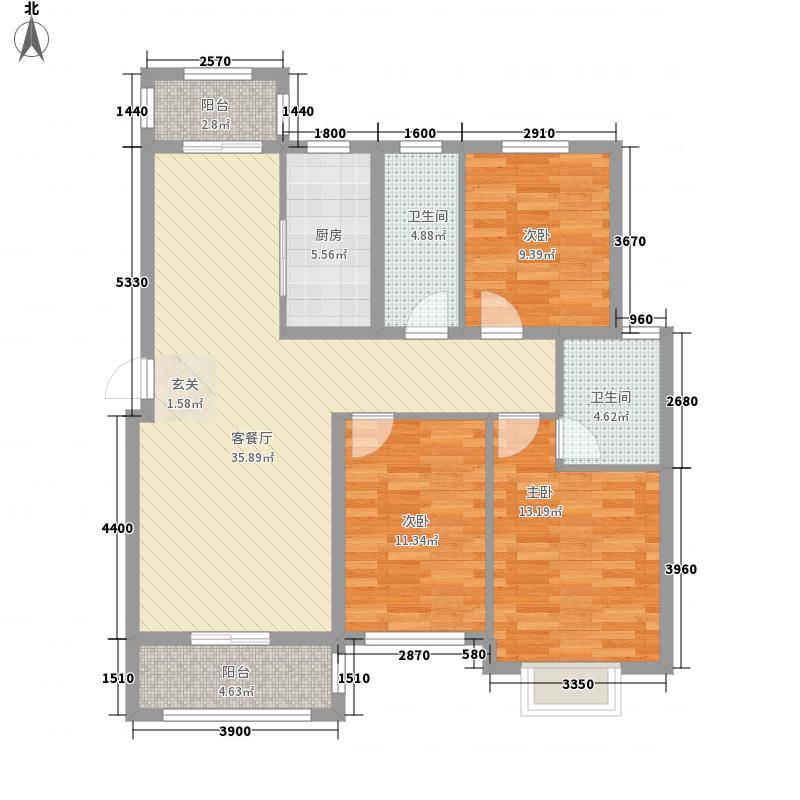 置地・天中第一城北苑131.62㎡D3户型3室2厅2卫1厨
