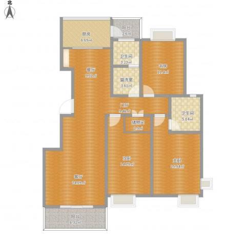 渭河家苑6-10013室2厅2卫1厨161.00㎡户型图