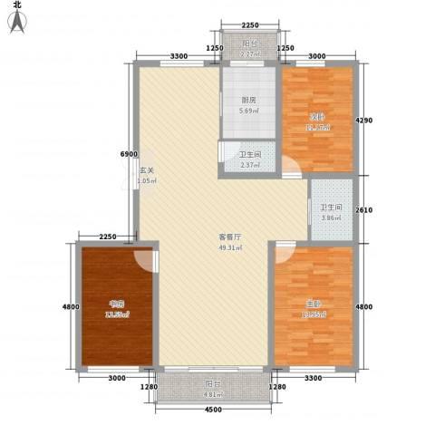 中新花园3室1厅2卫1厨154.00㎡户型图
