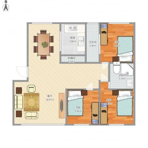 美域盛景3室1厅2卫1厨76.00㎡户型图