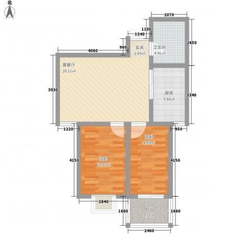腾运世元2室1厅1卫1厨61.00㎡户型图