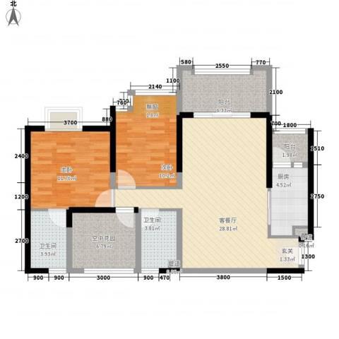 天湖御林湾2室1厅2卫1厨78.34㎡户型图