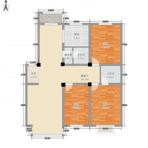 博达雅居3室2厅2卫1厨139.00㎡户型图