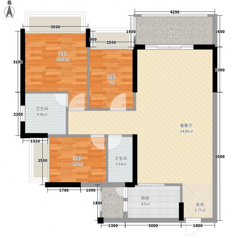 冠利万科苑8.00㎡A、B、C、G座01户型3室2厅2卫