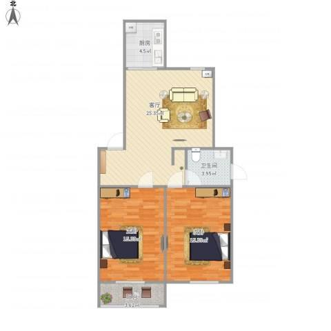 华强阳光新城2室1厅1卫1厨92.00㎡户型图