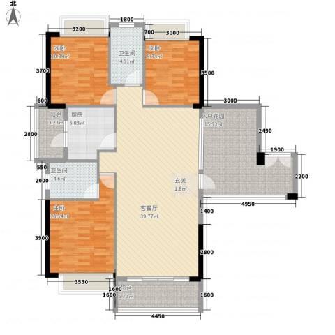 奥园海景城3室1厅2卫1厨135.00㎡户型图
