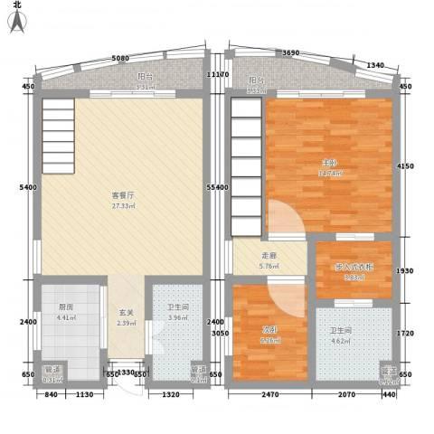 洱海国际生态城2室1厅2卫1厨78.09㎡户型图