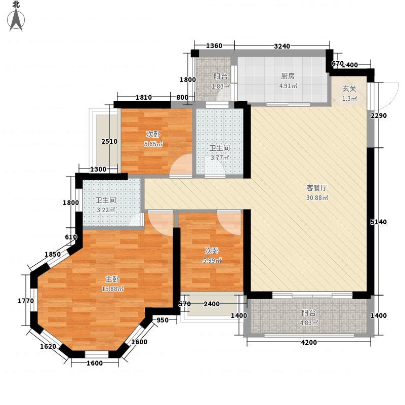 冠利万科苑11.00㎡A、C、G座08和B座03户型3室2厅2卫