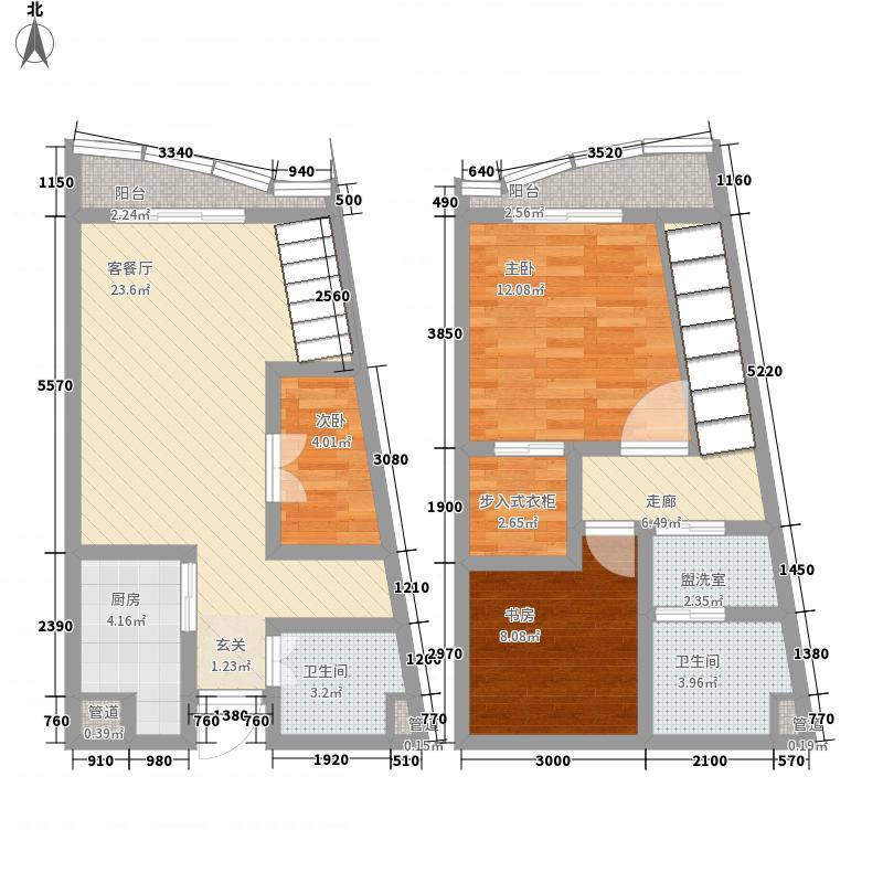 洱海国际生态城58.12㎡半岛复式B1户型3室