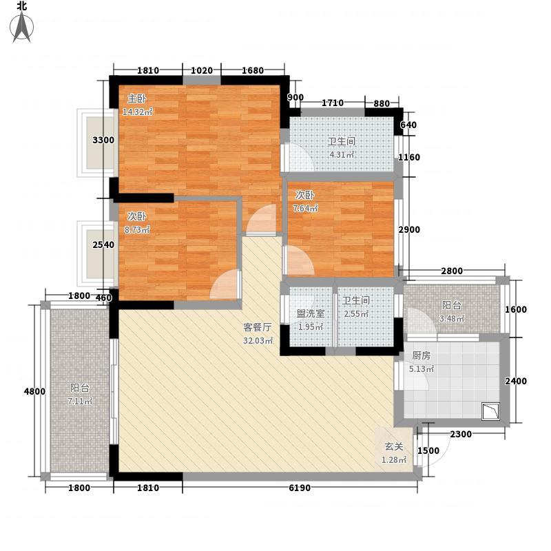 中国・金州体育城公寓户型3室1厅1卫1厨