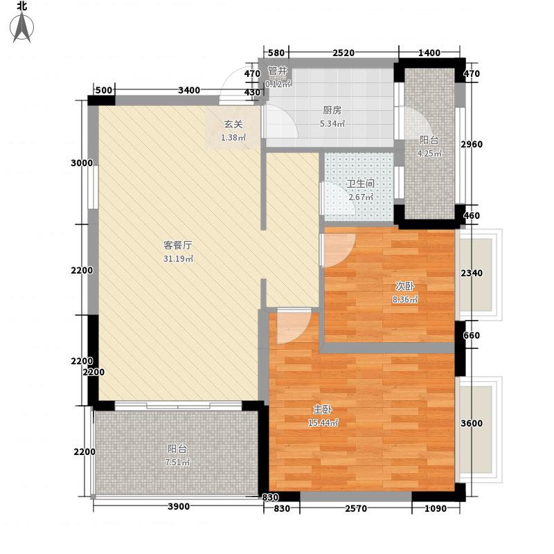 汉军龙江帝景326.88㎡B3-2户型2室2厅1卫1厨