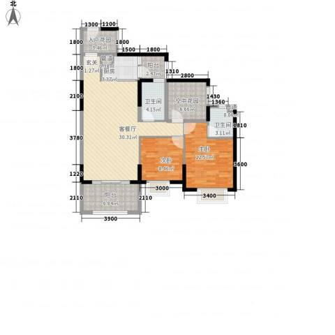 天湖御林湾2室1厅2卫1厨81.80㎡户型图