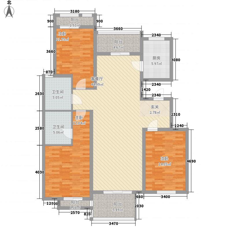领世公馆15.00㎡E户型3室2厅2卫
