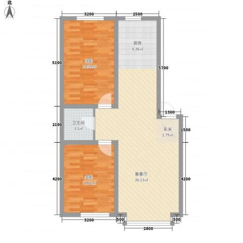 南风新苑2室1厅1卫0厨84.00㎡户型图