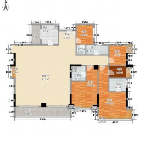 滨江瑞城5室1厅4卫1厨242.00㎡户型图