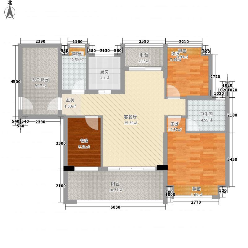 天益城15.00㎡2单元04号房户型3室2厅2卫1厨