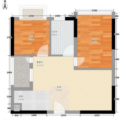 鸿翠阁2室1厅1卫0厨44.02㎡户型图