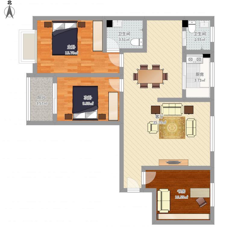 康平小区113方三室两厅