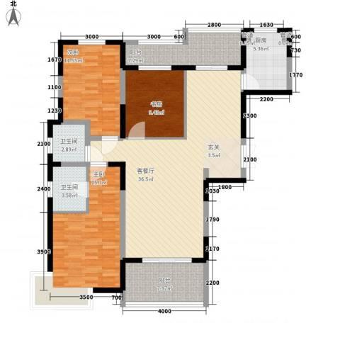 亿龙金河湾3室1厅2卫1厨126.00㎡户型图
