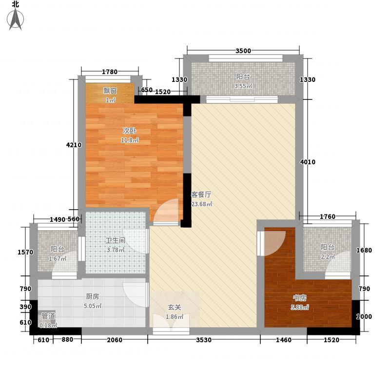 桥达蓝湾半岛74.11㎡一期高层所有楼栋标准层B2户型1室2厅1卫1厨