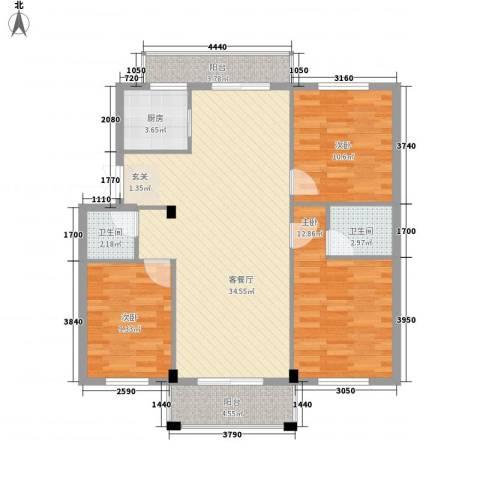 山水华庭3室1厅2卫1厨23118.00㎡户型图