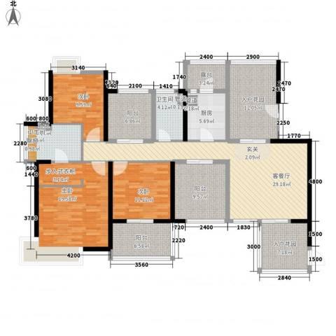 九鼎国际城3室1厅2卫1厨165.00㎡户型图