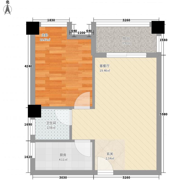 盛豪世纪城58.40㎡G4户型1室2厅1卫1厨