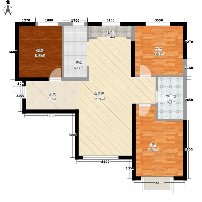 中冶玉带湾3室1厅1卫0厨116.00㎡户型图