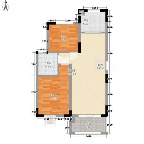 联华泉山湖2室1厅1卫1厨61.90㎡户型图