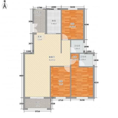 山水华庭3室1厅2卫1厨32133.00㎡户型图