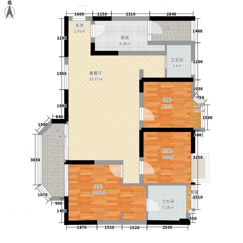 山海天爵仕33116.34㎡A3型户型3室2厅2卫