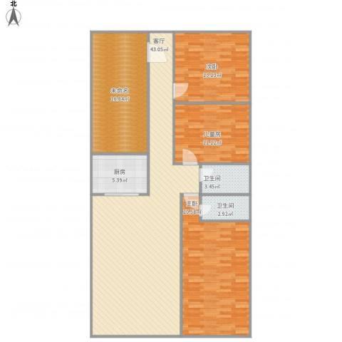 大步海滨花园3室1厅2卫1厨156.00㎡户型图