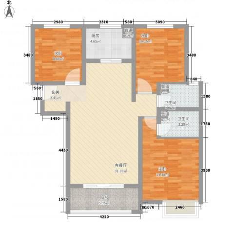 大川世纪城3室1厅2卫1厨116.00㎡户型图