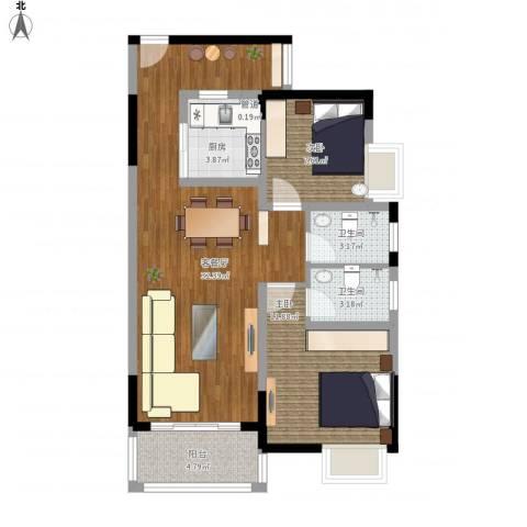 锦龙又一城二期君誉2室1厅2卫1厨98.00㎡户型图
