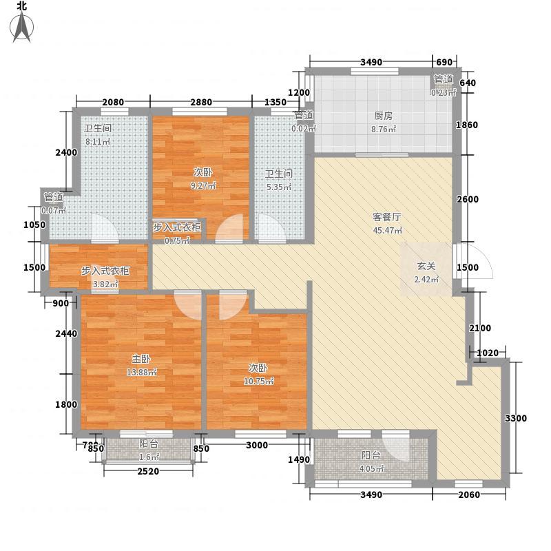 春田142.00㎡春田户型图馥园A2区5号楼B户型3室2厅2卫1厨户型3室2厅2卫1厨