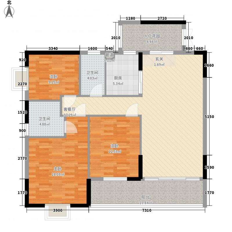 君浩绿桂园14.76㎡1号楼04户型3室2厅2卫1厨