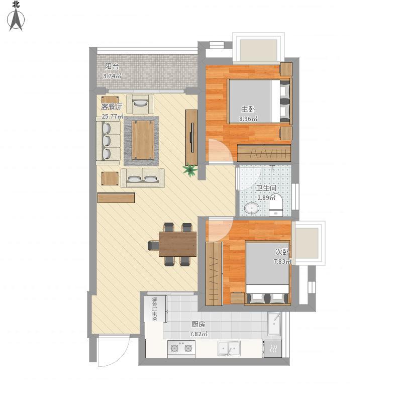 两室两厅一厨一卫