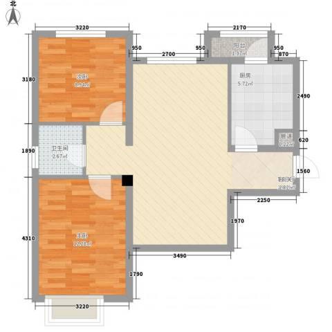 歌华中奥广场・中奥花园2室1厅1卫1厨82.00㎡户型图