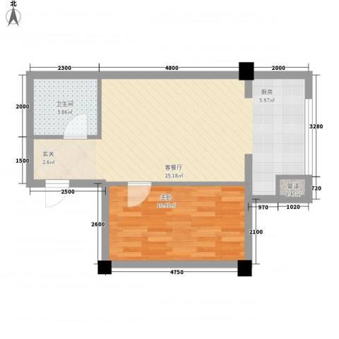 海棠铭居1室1厅1卫0厨53.00㎡户型图